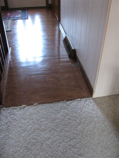 Transitioning from real wood floor and Pergo that looks