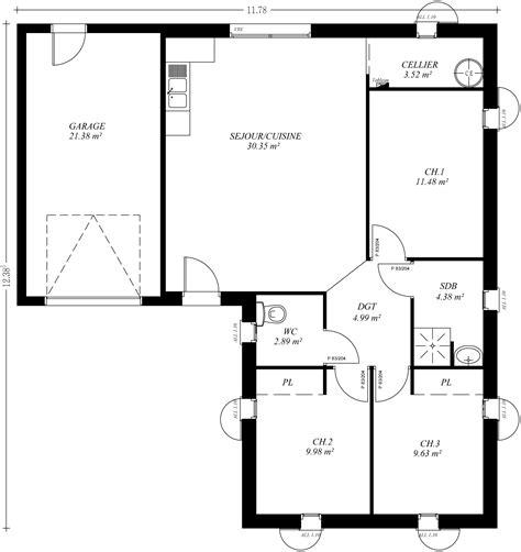 Plan De Maison Plein Pied En U top plan maison bois m plan de maison f avec garage maison