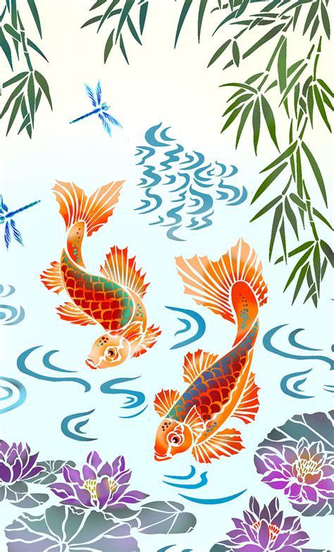 mural templates koi carp mural stencil henny donovan motif