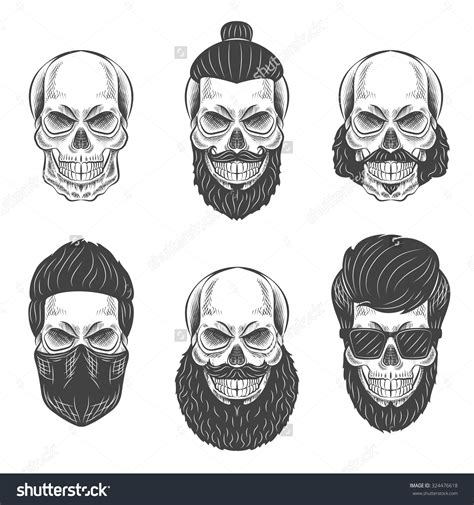 bearded skull tattoo skulls with hair and beards fashion vector