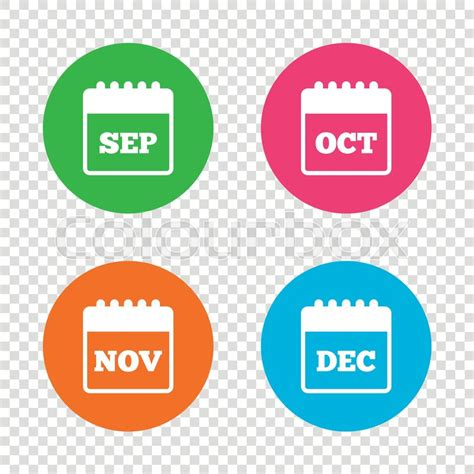 new year month symbols calendar icons september november october and december