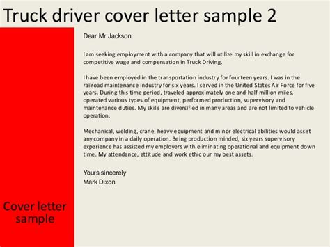 Cover Letter For Truck Driver by Truck Driver Cover Letter