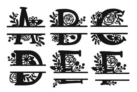 span font color split floral monogram alphabet stencil