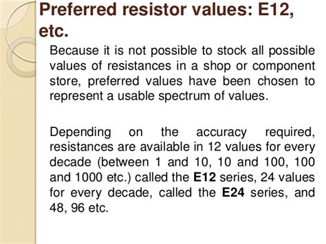 preferred resistor values e12 resistor preferred values 28 images 187 tk resistors 187 jeelabs resistor color code