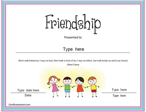best friend certificate templates certificate free award certificate templates no