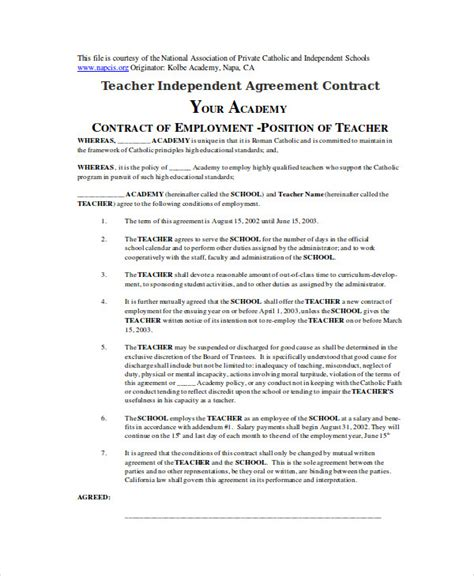 teacher agreement contract sle 9 exles in word pdf