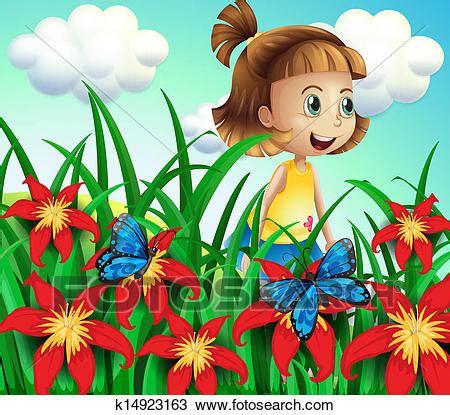 clipart   small girl   flower garden