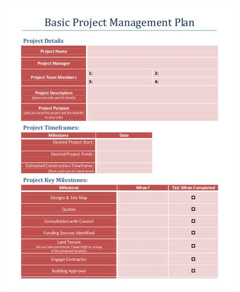 simple project management template project management templates 9 free word pdf documents
