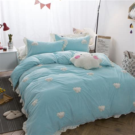 cute bed sets queen clouds patch cute thick fleece winter bedding set girls