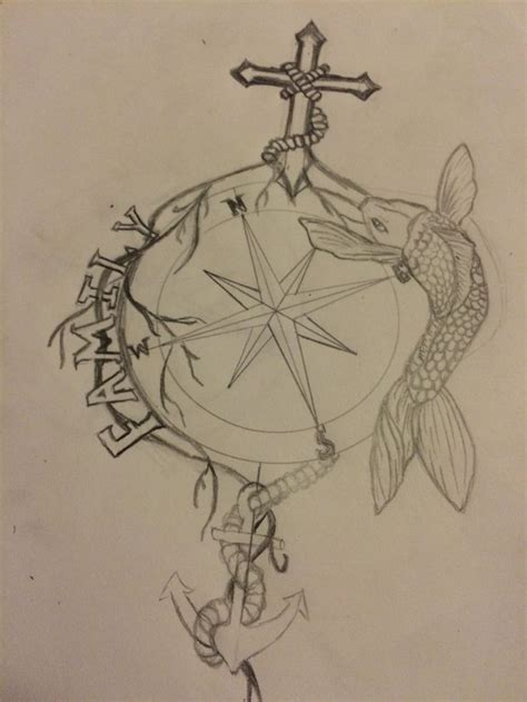 anchor compass tattoo something i m working on cross family koi anchor