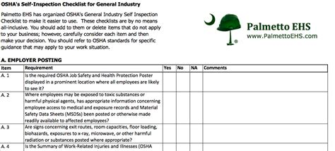 osha self inspection checklist for general industry in ms