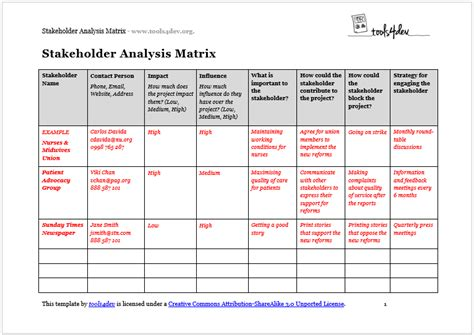 stakeholder analysis template template business