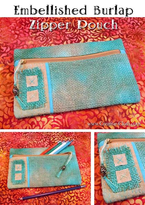 zippered pouch pattern free embellished burlap zipper pouch free sewing pattern
