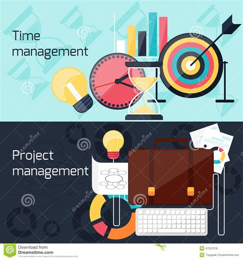 design management in project management project and time management flat design concept stock