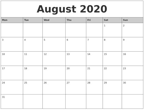 august  monthly calendar printable