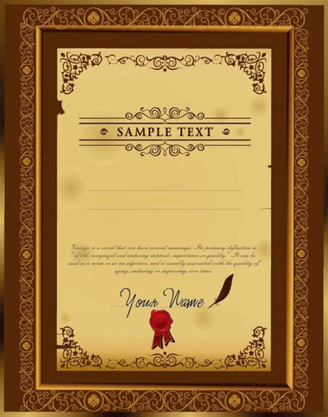 certificate template design vector free download certificate border designs free vector download 5 995
