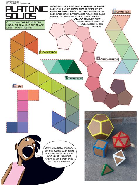 How To Make Paper 3d Shapes - howtoons cut and fold platonic mathematical shapes make