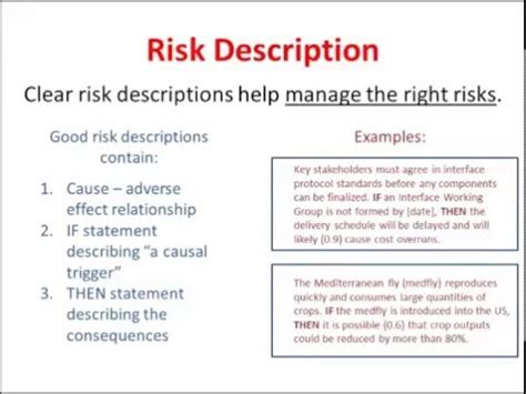 risk statement template how to write a risk description