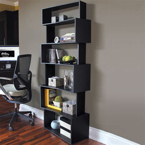 angled contemporary bookcase in bookcases
