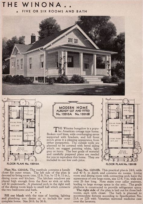 american bungalow house plans 1936 winona kit home sears roebuck 20th century