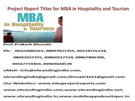 Hospitality Mba by Project Report Titles For Mba In Hospitality And Tourism