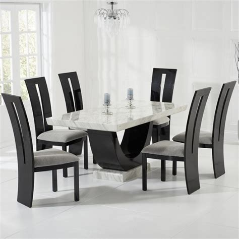 marble dining room table and chairs marble dining table in with 6 ophelia grey