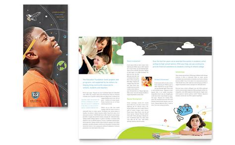 Education Foundation School Tri Fold Brochure Template Word Publisher Microsoft Office Trifold Template