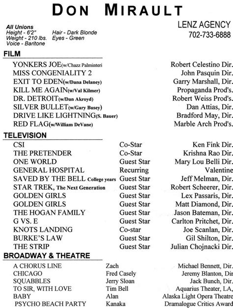 Theatrical Resume Sle by 17664 Theatre Resume Template Best 25 Acting Resume