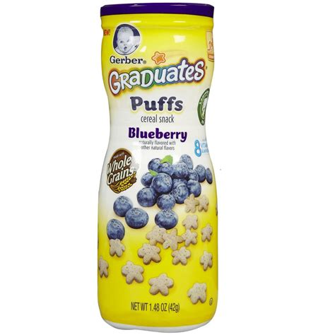 gerber graduates puffs cereal snack blueberry 42g baby