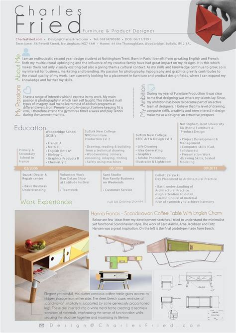 curriculum vitae charles fried furniture product