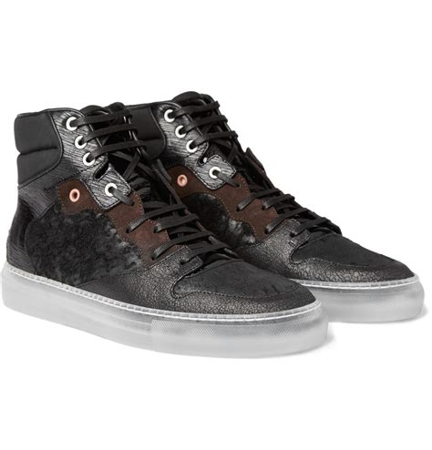 high top leather sneakers balenciaga high top leather sneakers in black for lyst