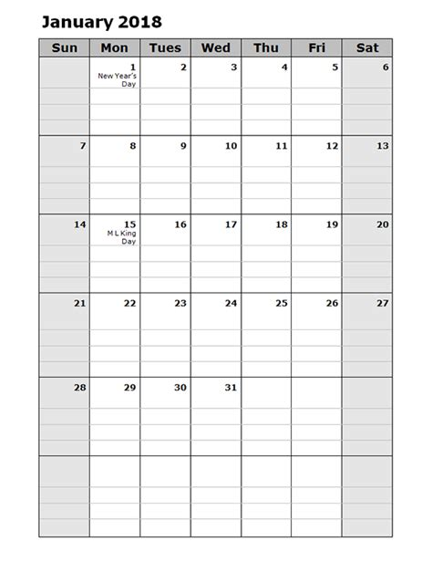 printable calendar 2018 with lines 2018 daily planner calendar template free printable