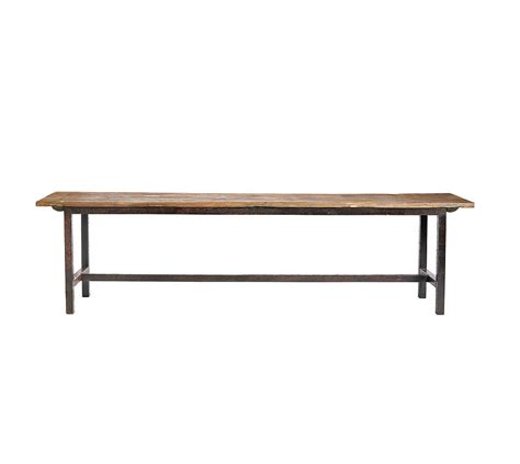 wooden pew bench wooden bench with metal legs by bell blue