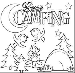 camping lake coloring pages