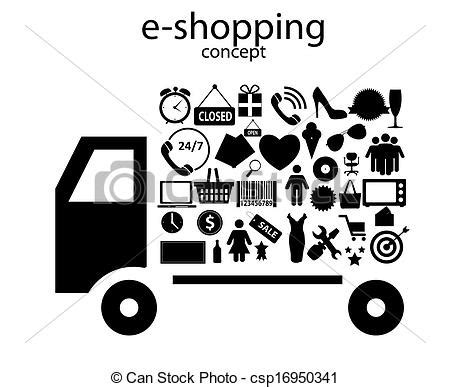 i love shopping icon and concept stock vector eps vector of e shopping concept icons vector illustration