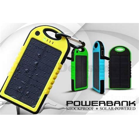 Power Bank Solar 5000mah solar waterproof power bank 5000mah green black jakartanotebook