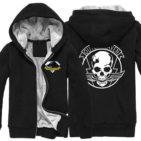 Hoodie One Diamend Clothing aliexpress buy mgs 5 metal gear solid v hoodies dogs outer heaven logo zip up