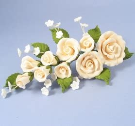 Handmade Sugar Roses - large handmade sugar spray in ivory