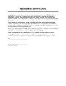 Certification Letter For Equipment termination certification template amp sample form biztree com