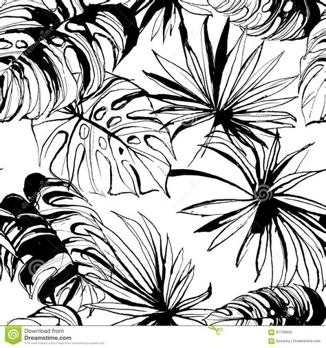 jungle pattern black and white tropical jungle floral seamless pattern background with