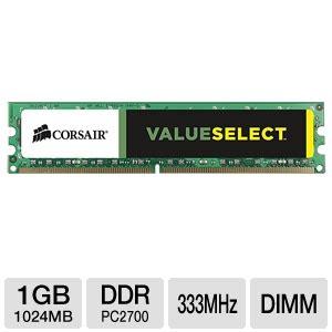Corsair Vs512mb333 Pc2700 Cl2 5 corsair value select ddr 1 gb dimm 184 pin 333 mhz