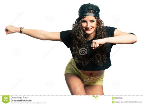 rashidas hip hop curly hair hip hop aerobics dancer young smiling woman with curly
