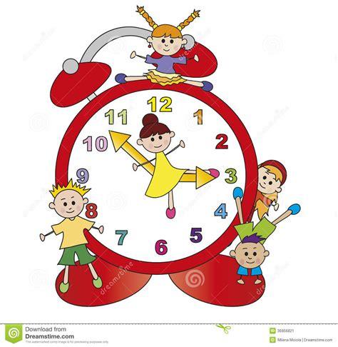 clipart per bambini orologio con i bambini illustrazione di stock