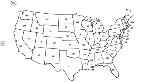 us map outline with state abbreviations united states abbreviations map