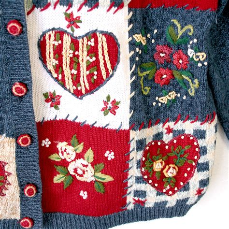 valentines day sweaters hearts and roses patchwork valentines sweater the