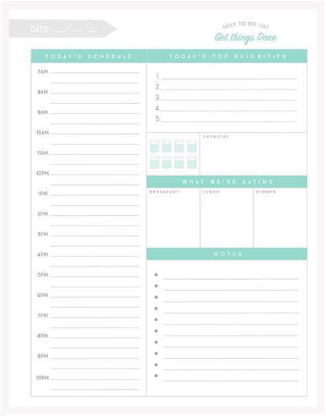 free simple daily planner template best templates
