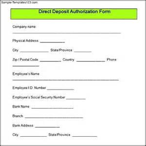 Direct Deposit Form Template by Sle Direct Deposit Authorization Form Sle