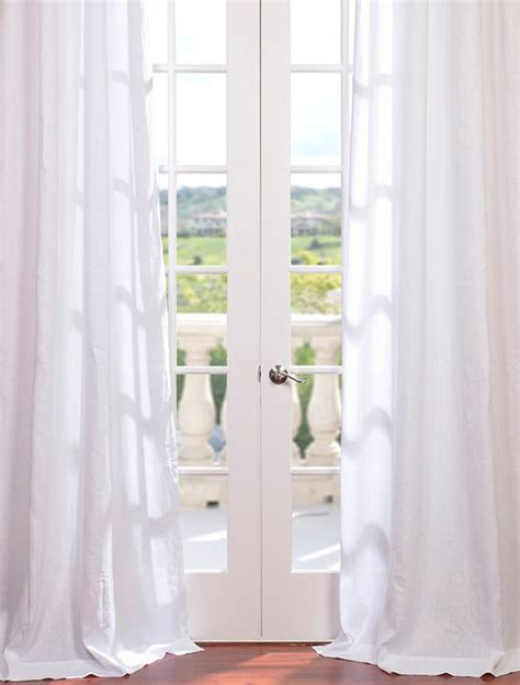 french sheer curtains signature purity white french linen sheer curtain