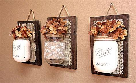 mason jar wall decor burlap and lace pallet wood