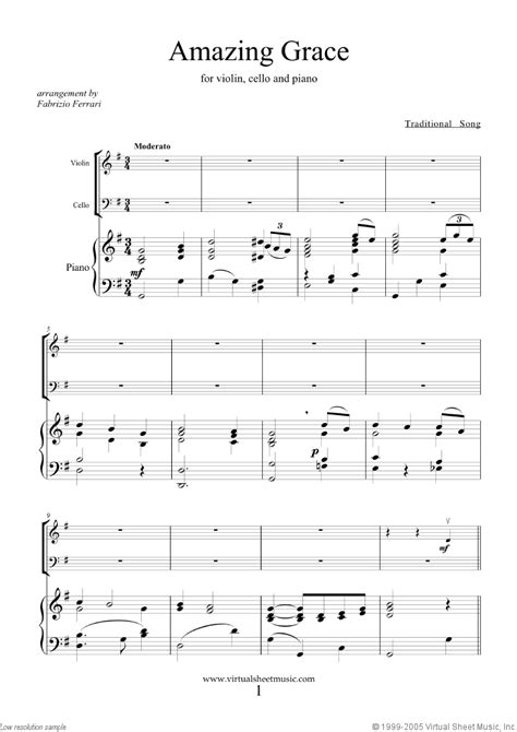printable sheet music amazing grace amazing grace sheet music for violin cello and piano